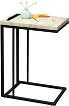 Slide Under Sofa Side Table with Faux Marble Top and iPhone or iPad Stand or End Table