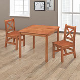 eHemco Kids Table and Chairs Set Solid Hard Wood with X Back Chairs (3, Dark Oak)…