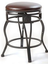 24'' Swivel Metal Barstool with Faux Leather Seat in Espresso