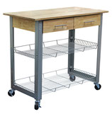 Kitchen Cart with Metal Base