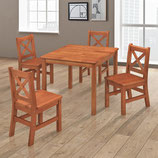 Kids Table and 4 X-Back Chairs Set Solid Hard Wood in Dark Oak