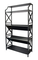 5 Shelf Metal Bookcase (2 V Slants) with X Sides