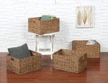 eHemco Rectangular Hand-Woven Water Hyacinth Storage Baskets, Set of 4