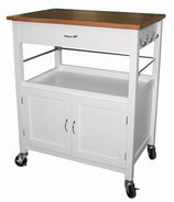 Kitchen Cart Butcher Block Natural and White with 2 doors