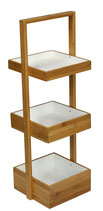 eHemco 3 Tier Bamboo Shelf Natural & White