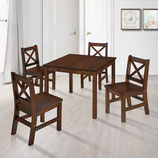 Kids Table and 4 Chairs Set Solid Hard Wood in Coffee with X-Back Chair