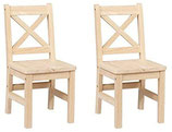 Solid Hard Wood X Back Kids Chair - Set of 2 (Unfinished)