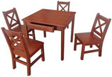Kids Table with 2 Drawer and 4 Chairs Set Solid Hard Wood in Dark Oak