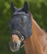 Fliegenmaske Premium mit Ohren, schwarz