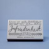 """Streichholzschachtel mit Text """"Das Feuer der Zufriedenheit.."""""""