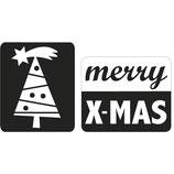 Label zum Eingießen *merry X-Mas + Christbaum*