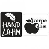 Label-Set zum Eingießen *handzahm und carpe diem*