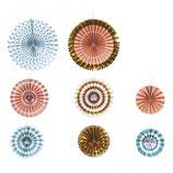 Deko-Rosetten aus Papier im Set in verschiedenen Farben