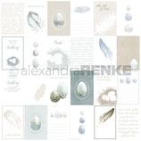 Designpapier *Kärtchenbogen Eier und Federn*