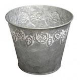 Metall Übertopf mit Rosenmuster