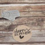 Stempel *Happy Birthday* auf Holzblock montiert