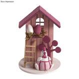 Holz Deko *Sommerhaus* rosé/pink