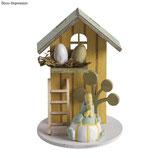 Holz Deko *Sommerhaus* honiggelb/grün/blaugrün