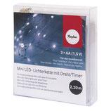 Mini LED-Lichterkette m. Draht**TIMERFUNKTION mit 20 Lichtern in kaltweiß