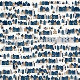 Designpapier *Häuserreihe blau-gold*