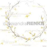 Designpapier *Forsythien-Kranz gold*