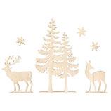 Holzmotive *Baum und Hirsch*