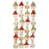 Holz-Klammern mit buntem Haus *Adventskalender-Zahlen* 1-24