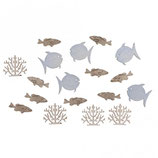 Holz-Streuteile Fische und Korallen