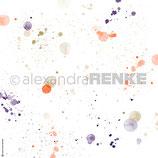 Designpapier Natur *Neon-Orange Farbspritzer*