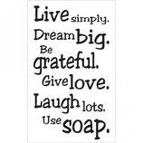 Label zum Eingießen *Live simply...*