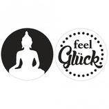 Label-Set zum Eingießen *Buddha und feel Glück*