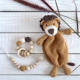 Schmusetuch - Löwe Schnullerkette und Greifling