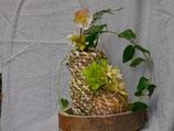 Duo vases sur plateau en bois