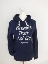 """Kapuzenpulli Hoodie """"Breath, Trust, Let Go"""", Organic Cotton BLAU UNISEX"""
