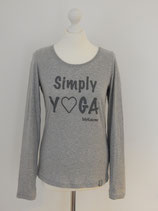"*WOMEN* Longsleeve ""Simply Yoga"", Organic Cotton GRAU"