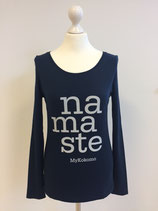 "*WOMEN* Longsleeve ""Namaste"", Organic Cotton Blau"