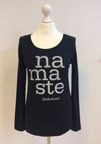 "*WOMEN* Longsleeve ""Namaste"", Organic Cotton Schwarz"