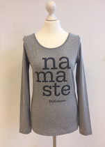 "*WOMEN* Longsleeve ""Namaste"", Organic Cotton BlauGrau"