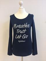 "*WOMEN* Longsleeve ""Breathe, Trust, Let Go"", Organic Cotton Blau"