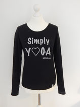 "*WOMEN* Longsleeve ""Simply Yoga"", Organic Cotton SCHWARZ"