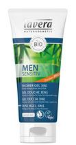 Gel douche 3 en 1 Men Sensitiv, Corps, Cheveux & Visage, Bambou bio et Extrait de guarana bio LAVERA - 200ml