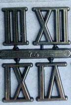 Jeu de 4 chiffres romains plastique dorés à coller
