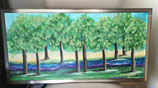 "SOLD   ""Trees in Color"" Original painting 15x30"