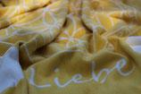 Energetisierte Biobaumwolldecke Liebe gelb / natur 150 x 200 cm