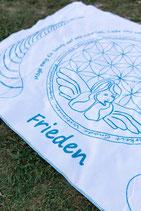 Energetisierte Biobaumwolldecke Frieden weiß / türkis 150 x 200 cm