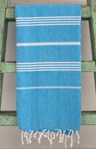 Hamamdoek turquoise- wit 1.00x1.80