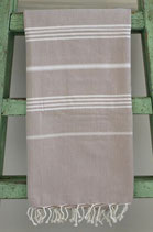 Hamamdoek beige wit
