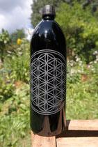 1 L Flasche, Mironglas / Violett-glas `Blume des Lebens´
