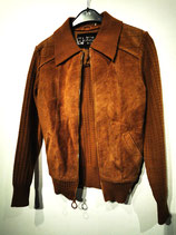 70s suede leather + knitted jacket