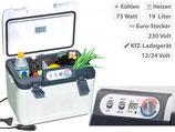 Thermoelektrische Kühl-/Wärmebox, LED-Anzeige, 12/24 & 230 V, 19 Liter